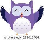 Happy cute vector purple owl.