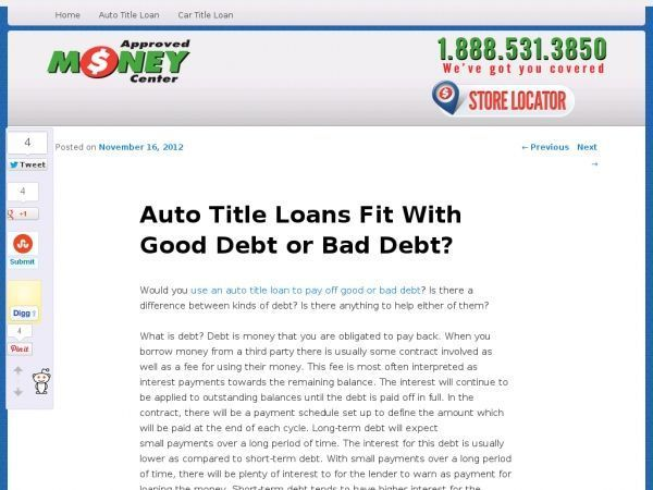 Would You Use An Auto Title Loan To Pay Off Good Or Bad Debt Is