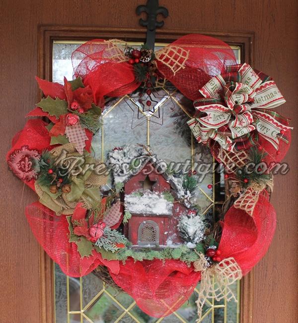 christmas wreath, deco mesh, rustic, wreath
