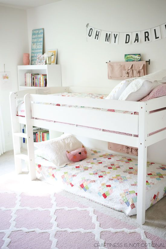 bright and happy shared girls room-love the quilts!