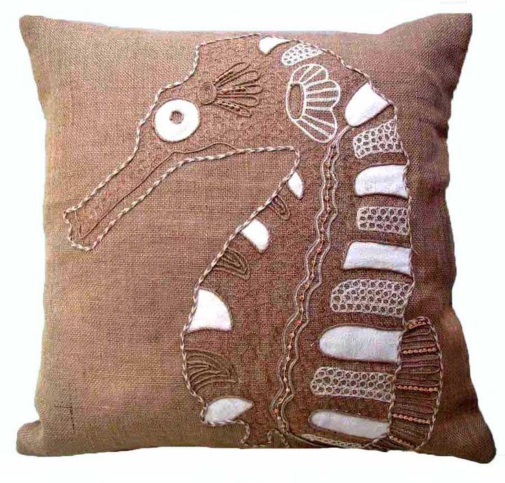 Burlap Seahorse Pillow buy #coastal style #pillows at Seaside Beach Decor http://www.seasidebeachdecor.com