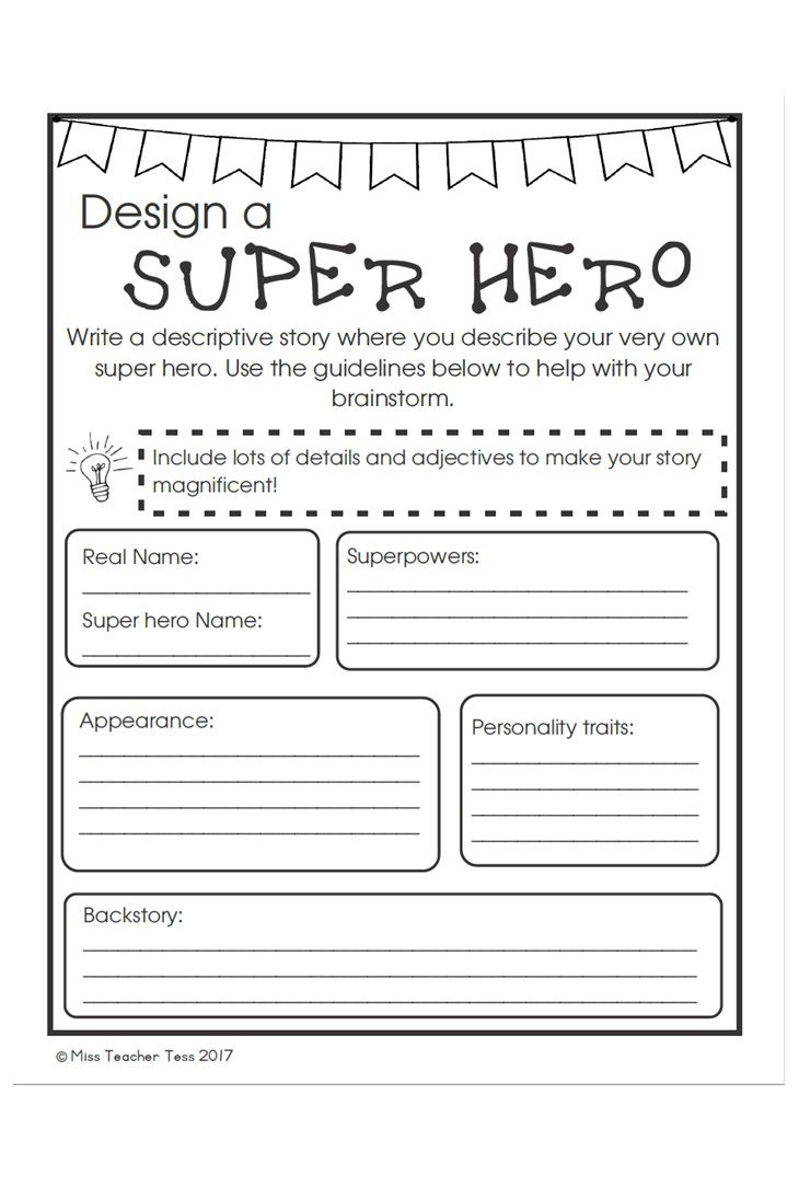 Describe your very own superhero! Writing assignment for grades 4 to 6