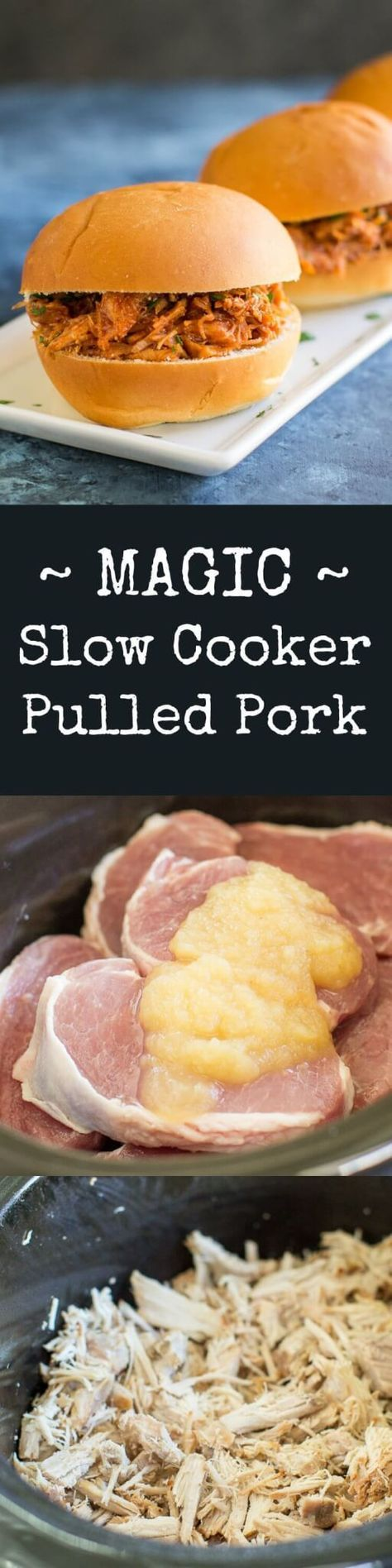 Learn the secret ingredient for Slow Cooker Pulled Pork so tender, it falls apart! Just two ingredients total (plus your favorite sauce) and no browning needed!