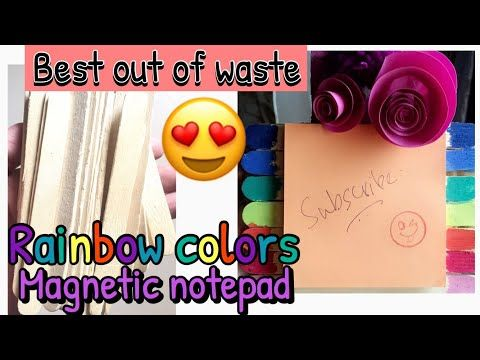 How to make magnetic notepad for fridge| popsickle sticks best craft idea at home| MISS CREATIVE - YouTube