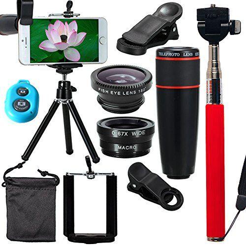 aobbi TM 10-in-1Kit de lente de cámara teleobjetivo 12x telescopio lente + lente de ojo de pez + Gran Angular + Macro lente + selfie stick monopie + mando a distancia Bluetooth + Mini trípode para iPhone 4S 55C 5S 66Plus Samsung Galaxy S3S4S5S6Edge Note 234, HTC, Nokia y teléfonos inteligentes - http://www.midronepro.com/producto/aobbi-tm-10-in-1-kit-de-lente-de-camara-teleobjetivo-12-x-telescopio-lente-lente-de-ojo-de-pez-gran-angular-macro-lente-s