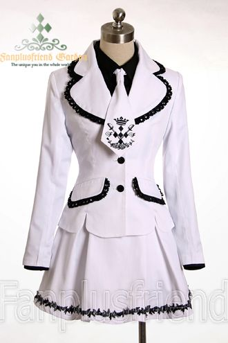 FANPLUSFRIEND - Military Navy Lolita School Uniform Outfit - Black w/ White Lace - Lady 90 or Custom Size - $56.00