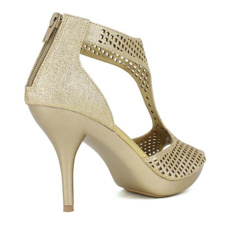 Celeste - Lynn-02 Glittery Laser-Cut T-Strap Heels in Gold