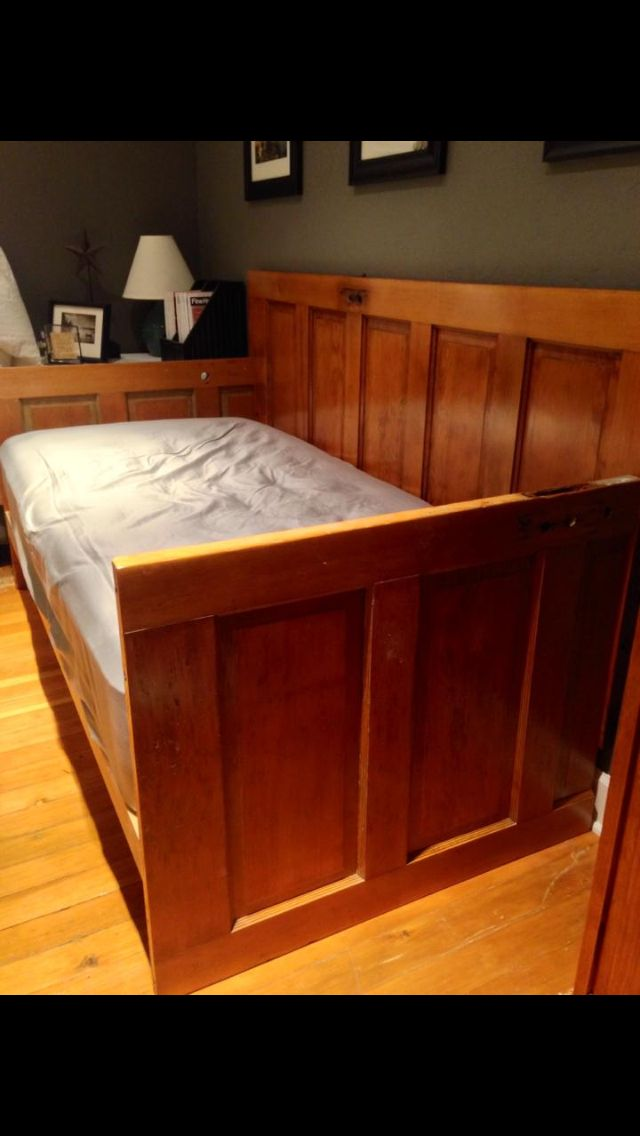 Day bed made from two old five panel doors.