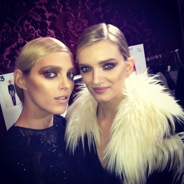 Tom Ford runway divas Anja and Lily  LFW Fall 2013 backstage