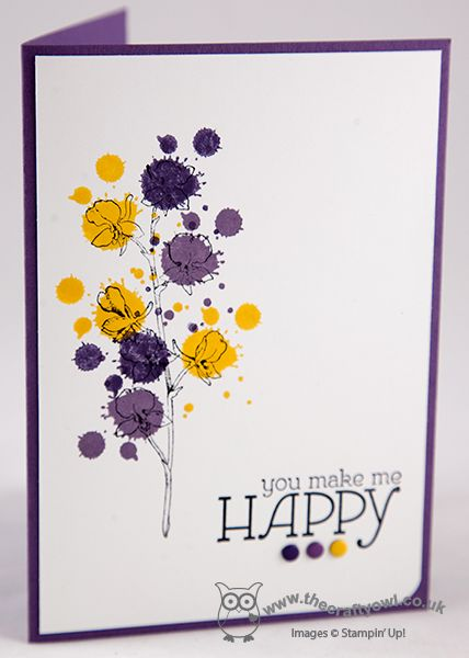 handmade card from The Crafty Owl's Blog: Happy Watercolour Meets Gorgeous Grunge ...luv the grunge splat spots under the flowers of the line-art ... yellow and purple ... coutld be Easter ... Stampin'Up!