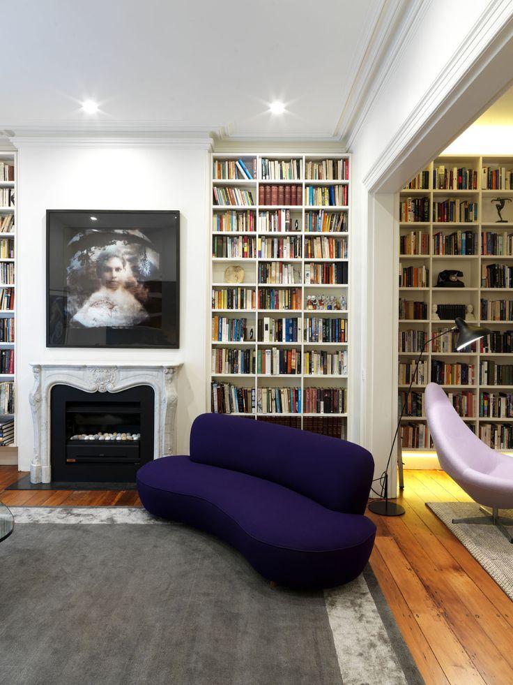 WOOLLAHRA TERRACE   alwill  #interiors #artwork #fireplace #bookshelf #bookcase #livingroom #woodenfloor