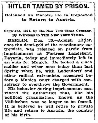 Another Pulitzer-winning story for the Times!Hitler Tame, American History, Crazy History, Clear Hitler, History Facts, General History, New York Times, 1924, Hitler Imprisoned