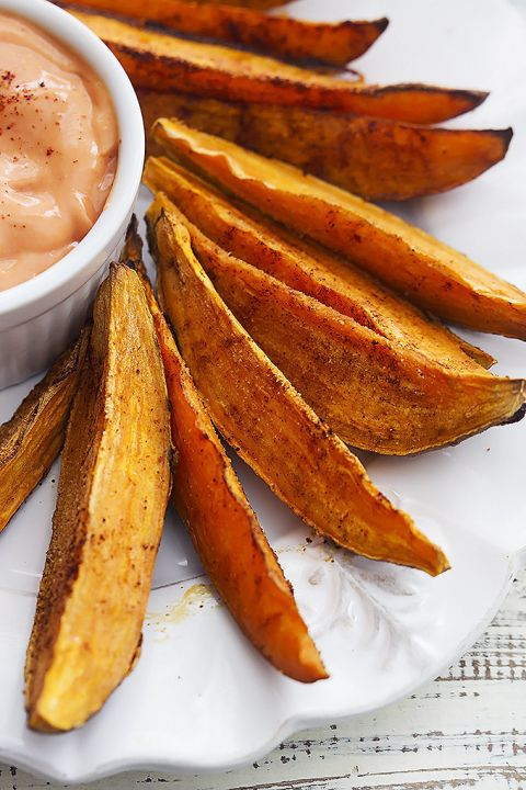 Spicy Baked Sweet Potato Wedges | Creme de la Crumb Not crazy about the dip though