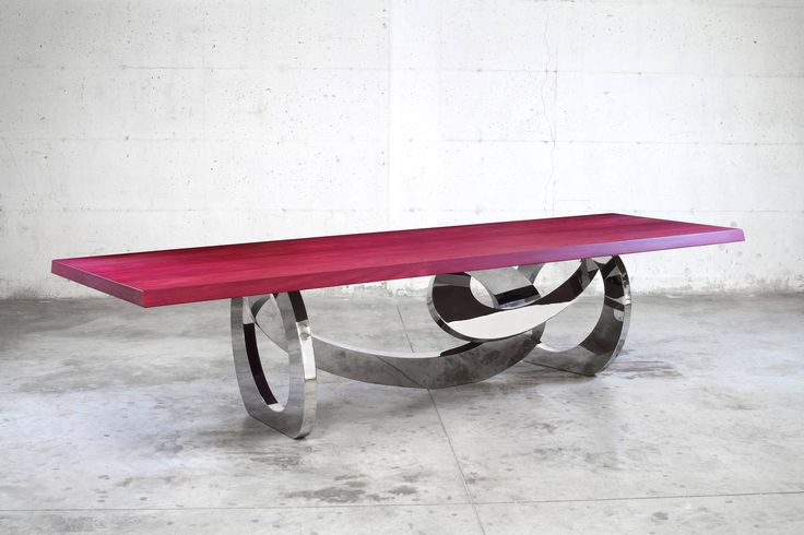 Contemporary design dining table in polished stainless steel and Amaranth wood | From a unique collection of antique and modern dining room tables at https://www.1stdibs.com/furniture/tables/dining-room-tables/