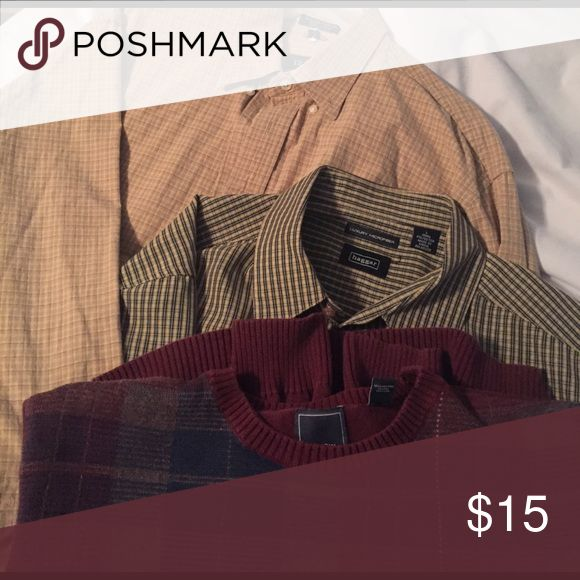 Men's Long & Short Sleeve Button Downs & Sweater All Size Large. Like New Condition and no signs of wear. Brands include Haggar, Izod, and Arrow. Haggar Shirts
