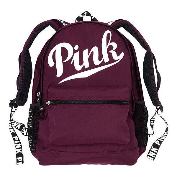 PINK Campus Backpack ($50) ❤ liked on Polyvore featuring bags, backpacks, accessories, nude, purple backpack, laptop bag, laptop rucksack, pink backpack and pocket backpack