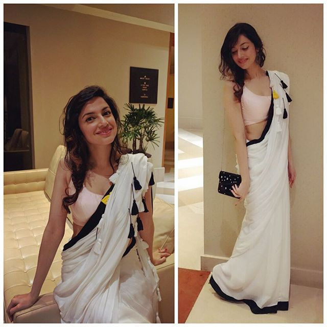 Saturday night In @masabagupta for Masaba's collection launch n @jimmychoo string #fashion #style #sari #divyakhoslakumar