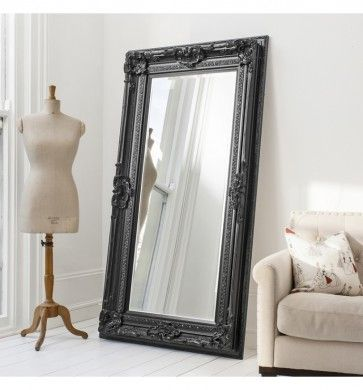 Gallery Valois Mirror Black 72x38 Grand Stately In A Sophisticated Satin Finish Floor Length