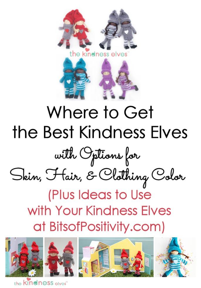 Kindness Elves are a great alternative to the Elf on the Shelf at Christmas. Now there are options for skin, hair & clothing colors for your Kindness Elves.