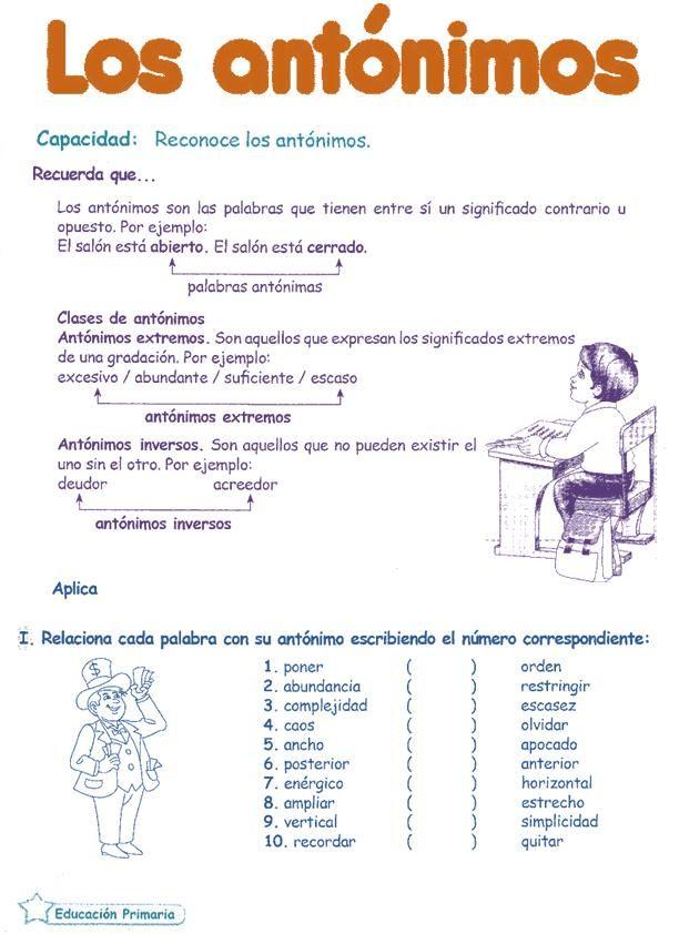 Antónimos para niños 6º primaria | Razonamiento Verbal                                                                                                                                                      Más