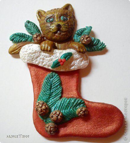 Мастер-класс Поделка изделие Новый год Лепка Рождественский сапожок Фарфор холодный фото 1