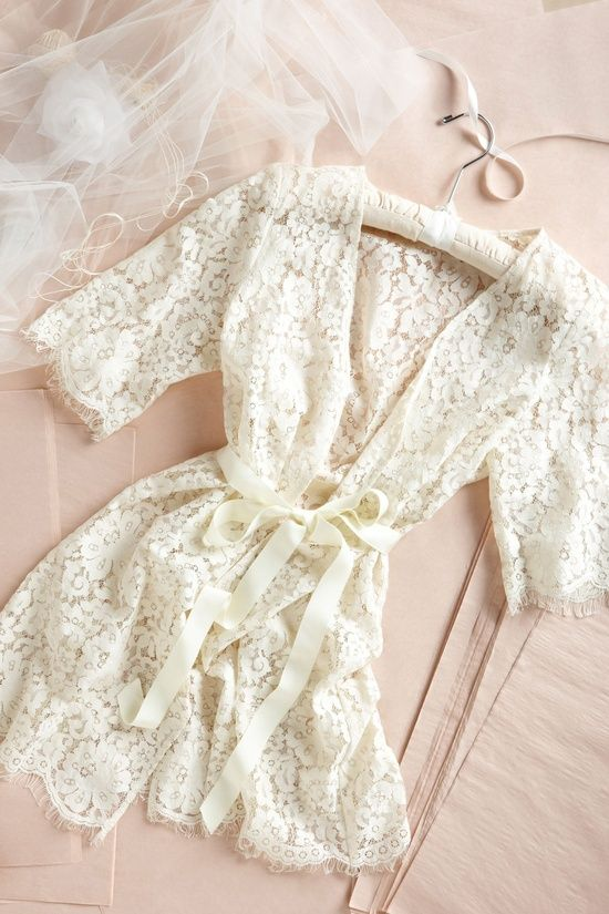 "Lace robe for Bride when getting ready... more like for getting ""a bit more comfortable"" on the honeymoon!:"