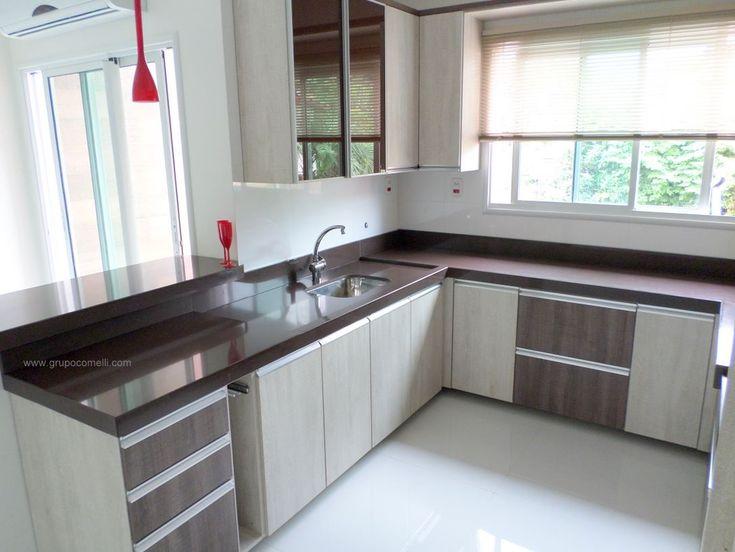 Cozinha com granitos Marrom Absoluto