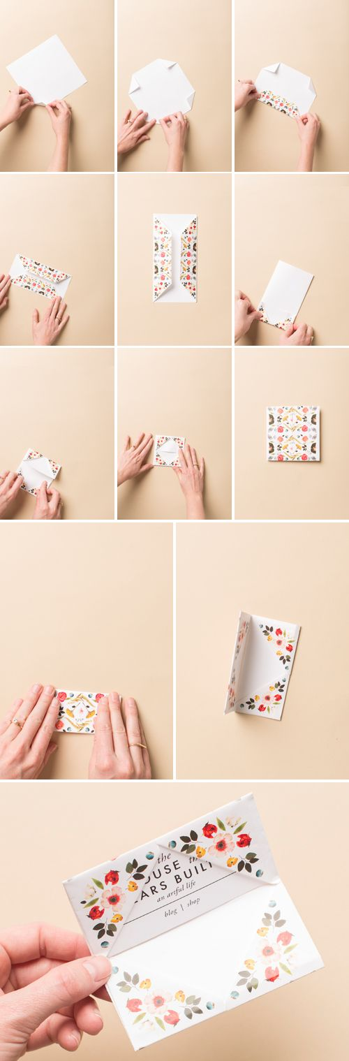Print make origami business card holder