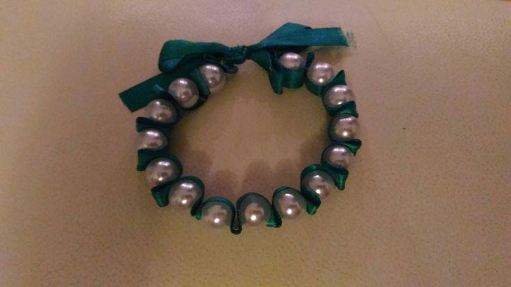 #bracciale #perle #verde #nastro #raso