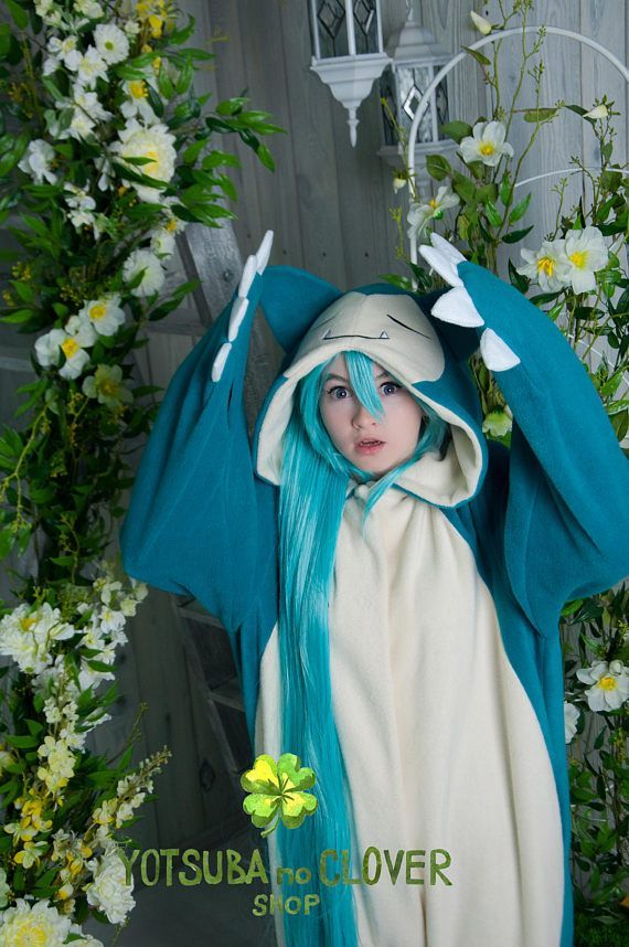 I love the costumes from this shop, they're the best quality and they do all sorts of Pokemon and anime inspired pajamas.  This one is based on Snorlax.  So adorable.  They take a few weeks to arrive because they make each one to order (and you can say exactly how long you want it so you're not swimming in it or wearing cropped pants... lol) #affiliate #thatsdarling #kigurumi #cosplay
