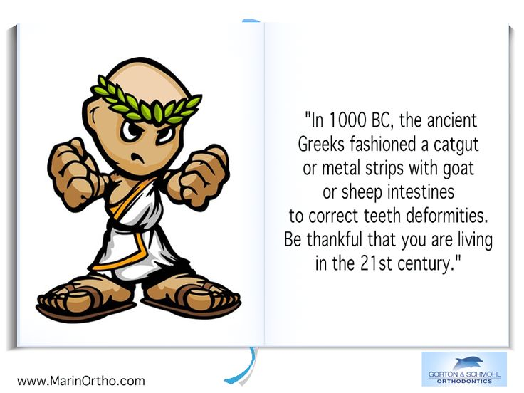 "Orthodontic Fact #11 ""In 1000 BC, the ancient Greeks fashioned a catgut or metal strips with goat or sheep intestines to correct teeth deformities. Be thankful that you are living in the 21st century.""  - Gorton & Schmohl Orthodontics 900 Larkspur Landing Circle, Suite 200, Larkspur, CA 94939 Phone: 415-459-8006 #invisalign #OrthodonticsFAQ #orthodontist #gortonschmohlorthodontics"
