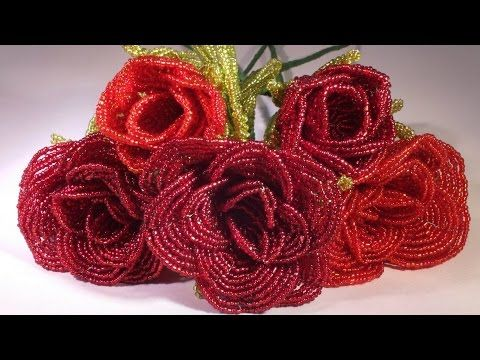 French beaded flowers : rose pattern - YouTube