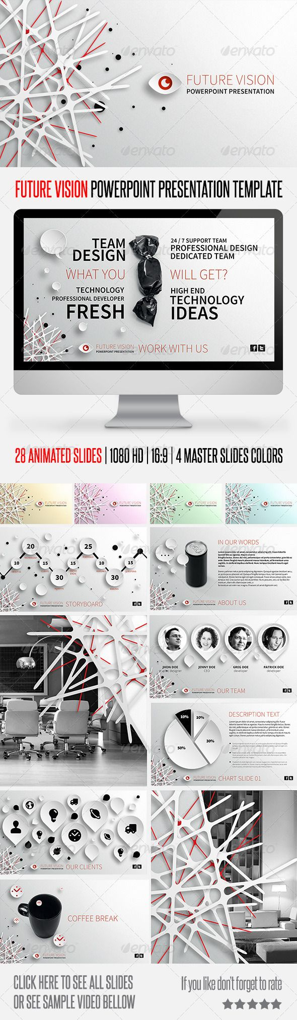 Future Vision Powerpoint Presentation Template by Something Design, via Behance