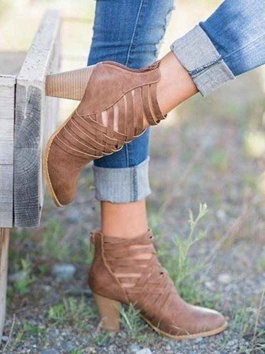 c3e446f01bc Retro Strappy Ankle Boots
