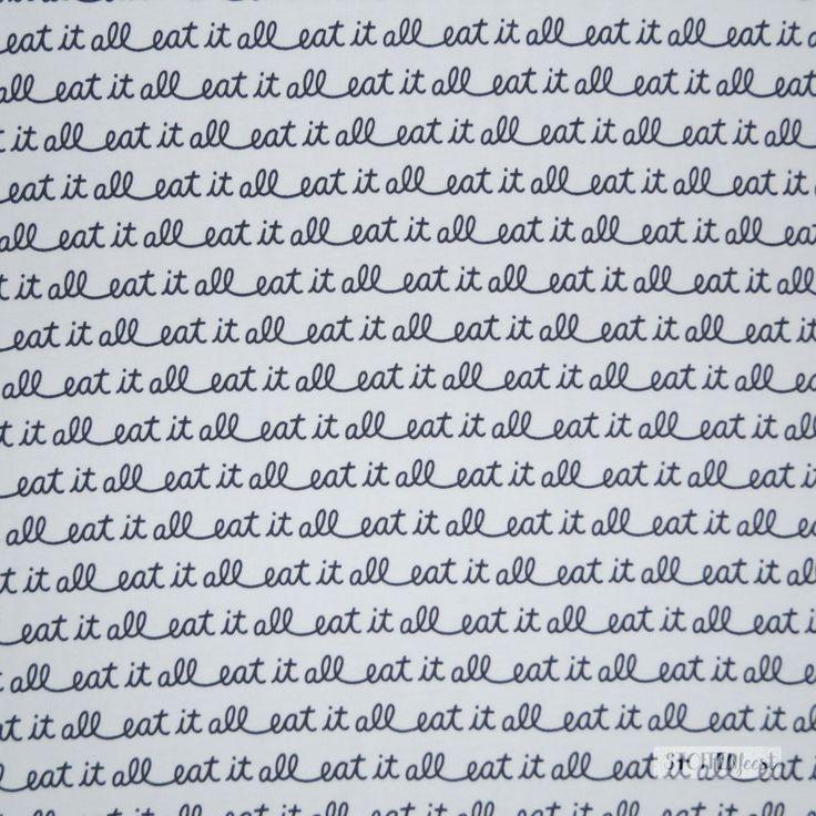 Art Gallery unit tricot wit woorden eat it all zwart