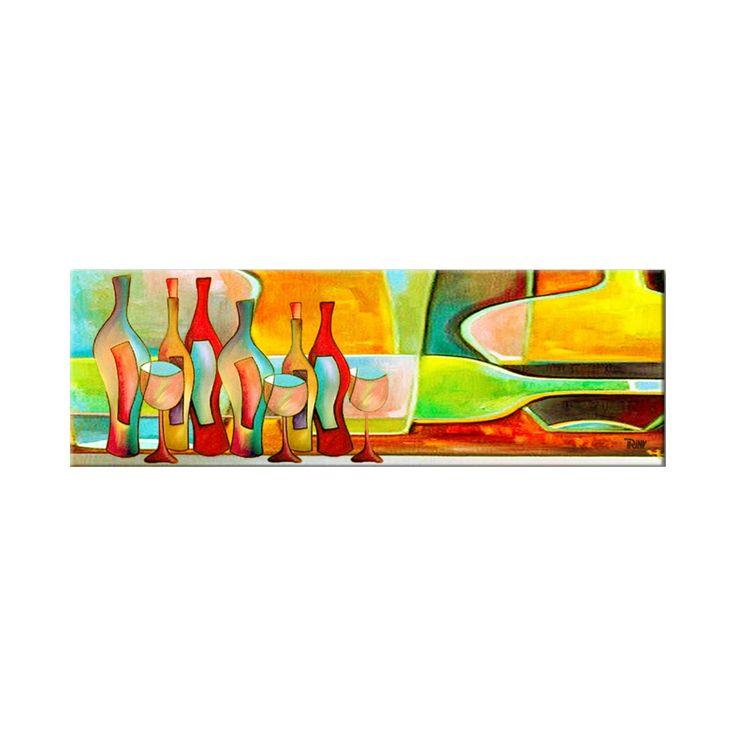 Vrolijk schilderij 'With Friends' van kunstenares Irina, leuk voor in de keuken of eetkamer, 150x50 cm | Kunstvoorjou.nl #schilderij #interieur #keuken #muurdecoratie #wijnflessen #Irina #Kunstvoorjou