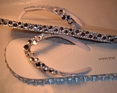 Rhinestone Bling Flip Flop Wedge Sandals Bridal Wedding. $45.00, via Etsy.