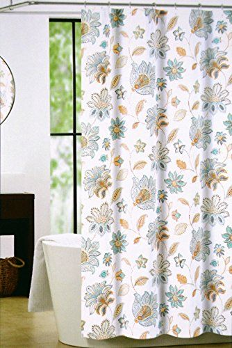 Nicole Miller Fabric Shower Curtain 72 Inch By 72 Inch Floral Shower Curtain  Jacobean