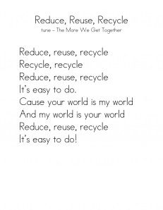 Reduce, Reuse, Recycle Song