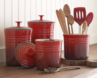 I know I don't have room, but I still love it!!!  Le Creuset Enameled Stoneware Canisters #WilliamsSonoma