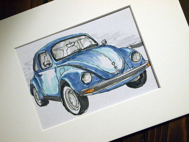 Hand-drawn bespoke sketch of your favourite car by @homemade_house www.homemadehouse.co.uk