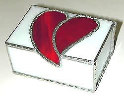 "Red & White Stained Glass Box - Valentine Gift Idea - 3 1/2"" x 3 1/4"" - $27.95  - Handcrafted Stained Glass Heart Design  * More at www.AccentOnGlass.com"