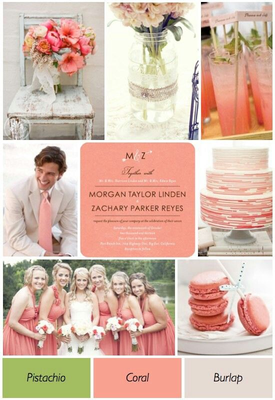 Coral pistachio and burlap summer wedding colors for Wedding color scheme ideas