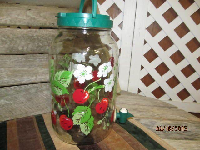 Vintage Clear Glass Sun Tea Jar Gallon Retro Push Spout Spigot Cherry Blossoms Tea Jar by EvenTheKitchenSinkOH on Etsy