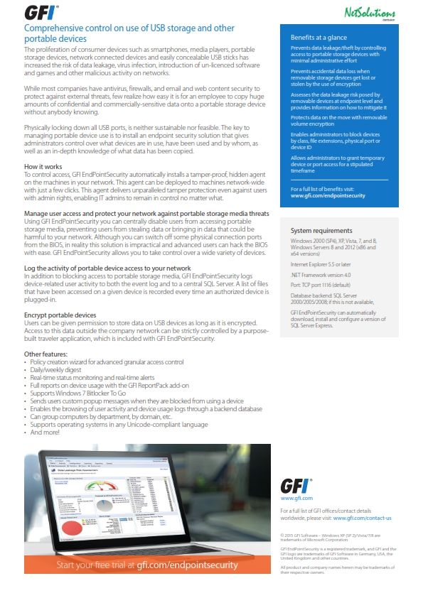 PT. #Netsolutions Infonet To control access, #GFI EndPointSecurity automatically installs a tamper-proof, hidden agent on the machines in your network