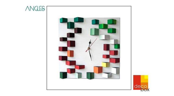 Deco Angles - Wood Wall Clock - Gemoetric Mosaic - Original Design - 89$  Shop here: http://bit.ly/deco-angles-etsy