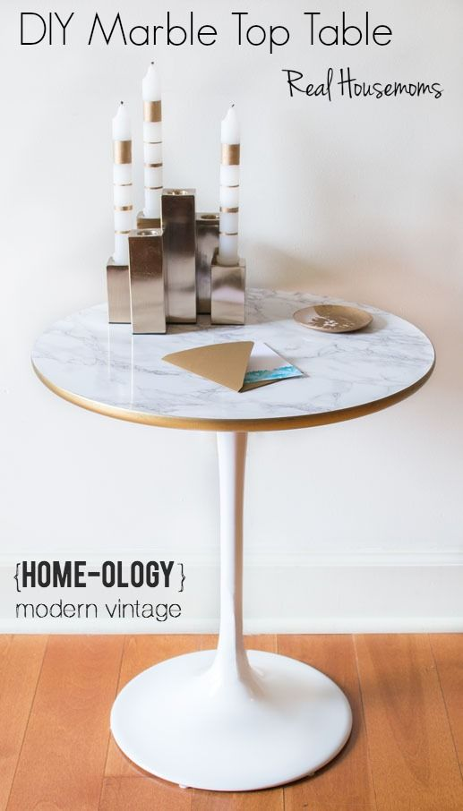DIY Faux Marble Top Table