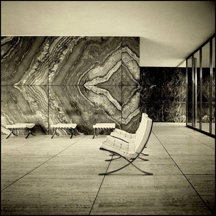 Barcelona Pavilion. Rebuilt in Barcelona, Spain. Originally built for the World Fair of 1929. Ludwig Mies van der Rohe (Marble)