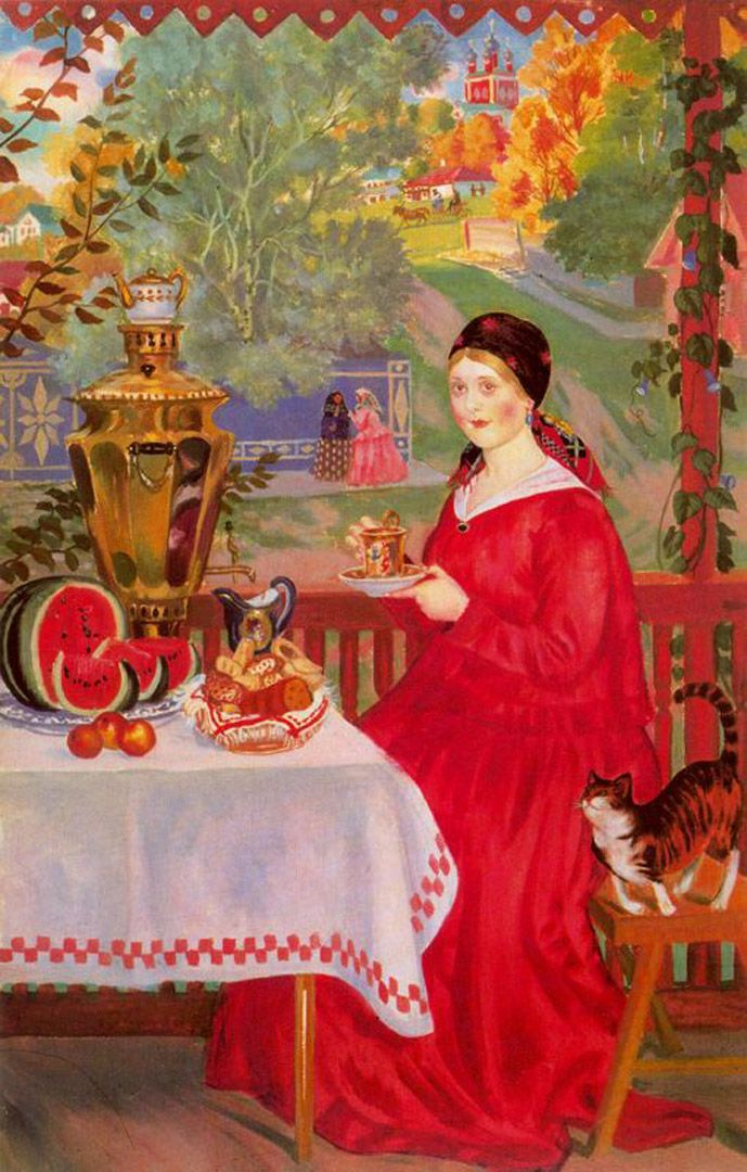 Merchant's Wife on the Balcony (in the company of her cat) | oil painting, 1920 | Boris Kustodiev