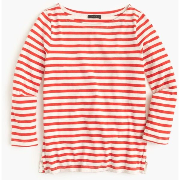 J Crew J.Crew Pre-order Striped boatneck T-shirt ($40) ❤ liked on Polyvore featuring tops, t-shirts, shirts, stripe tee, boat neck t shirt, pink top, stripe t shirt and boat neck tee